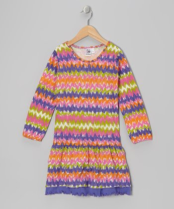 Blue & Orange Zigzag Drop-Waist Dress - Girls
