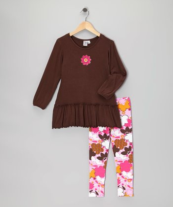Brown Flower Tunic & Pink Leggings - Toddler & Girls