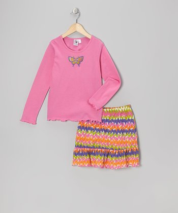 Pink Butterfly Tee & Skort - Girls