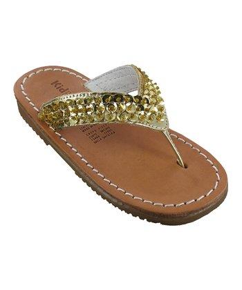 Gold Metallic Lauren Leather Sandal
