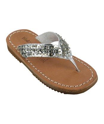 Silver Metallic Lauren Leather Sandal