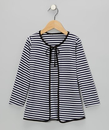 Navy & White Tie-Front Cardigan - Infant, Toddler & Girls