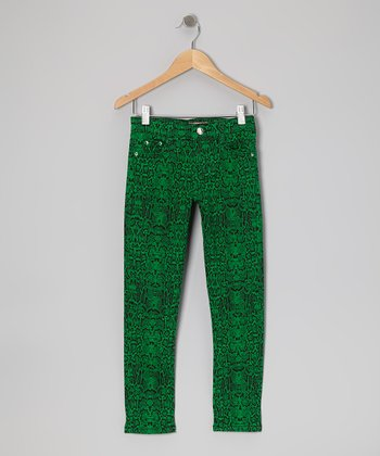 Emerald Green Snakeskin Skinny Jeans - Girls
