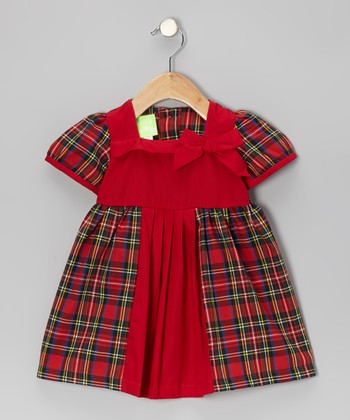 Merry Plaid Prom Bow Dress - Infant