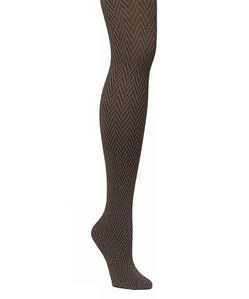 Coffee Bean Chevron Opaque Tights