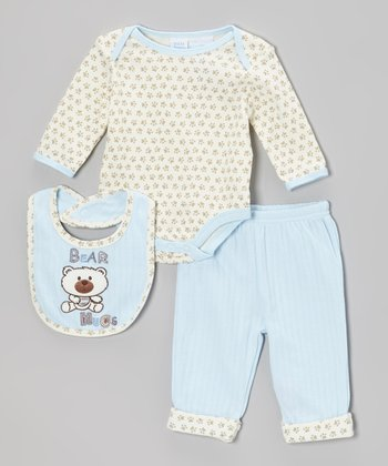 Blue 'Bear Hugs' Bodysuit Set