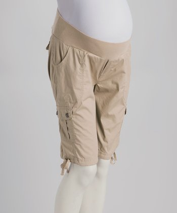 Stone Under-Belly Maternity Bermuda Shorts