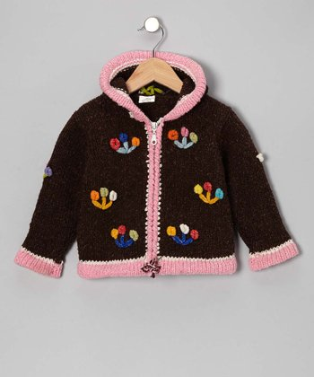 Brown Flower Trio Wool Zip-Up Hoodie - Infant, Toddler & Girls