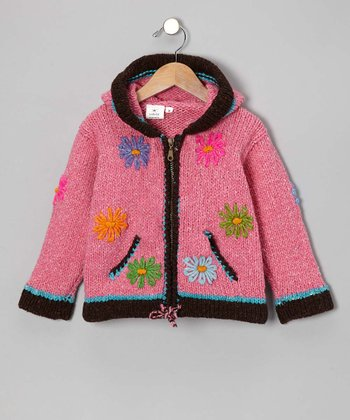 Pink & Brown Flower Wool Zip-Up Hoodie - Infant, Toddler & Girls