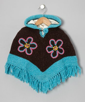 Turquoise Flower Wool Hooded Poncho - Infant, Toddler & Girls