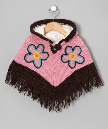 Pink & Brown Flower Wool Hooded Poncho - Infant, Toddler & Girls