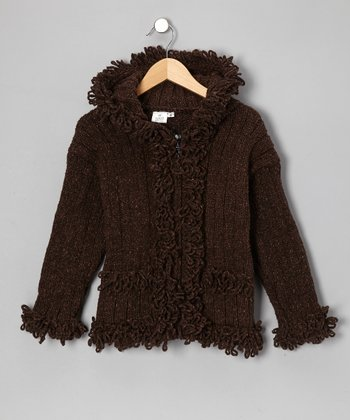 Brown Ruffle Wool Zip-Up Hoodie - Infant, Toddler & Girls