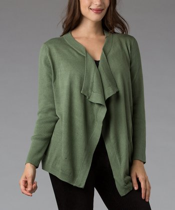 Lime Green Silk-Blend Open Cardigan