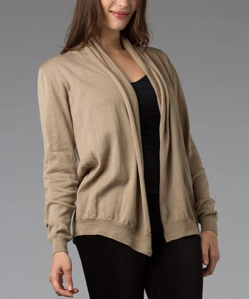 Beige Folded Collar Silk-Blend Open Cardigan