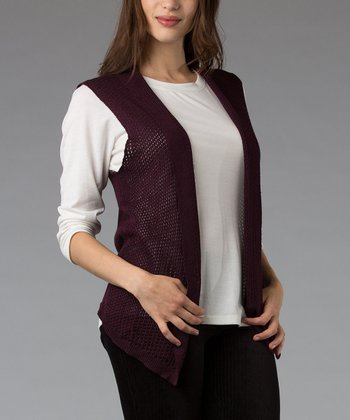 Purple Mesh Silk-Blend Vest