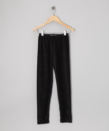 Black Corduroy Leggings - Girls