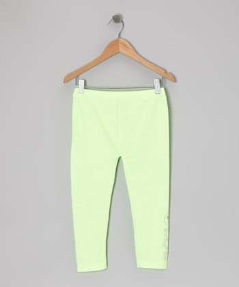 Mint Studded 'LOL' Leggings - Girls