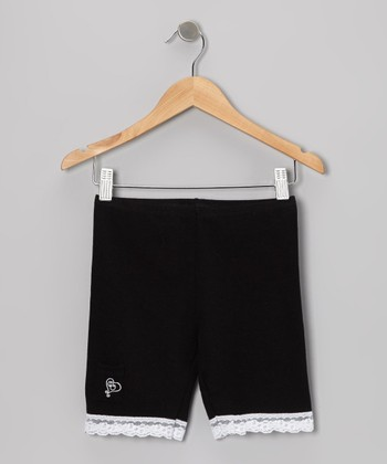 Black Lace-Trim Shorts - Toddler & Girls