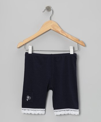 Navy Lace-Trim Shorts - Toddler & Girls