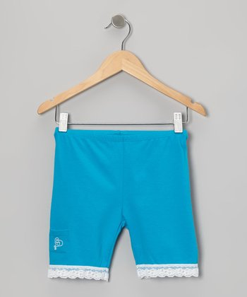 Turquoise Lace-Trim Shorts - Toddler & Girls