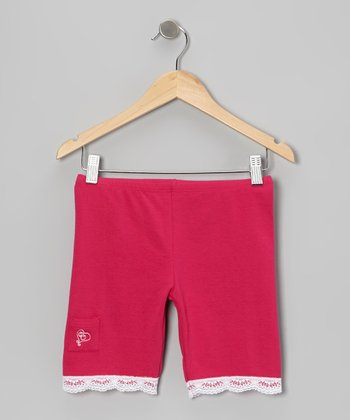 Fuchsia Lace-Trim Shorts - Toddler & Girls