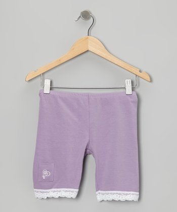 Lavender Lace-Trim Shorts - Toddler & Girls
