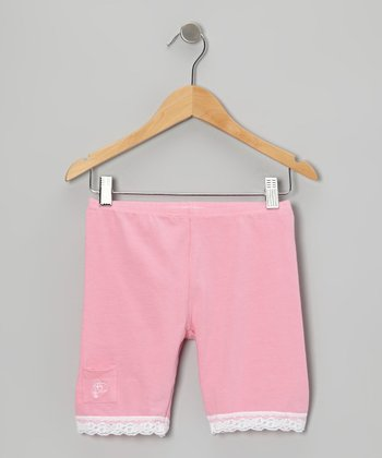 Light Pink Lace-Trim Shorts - Toddler & Girls