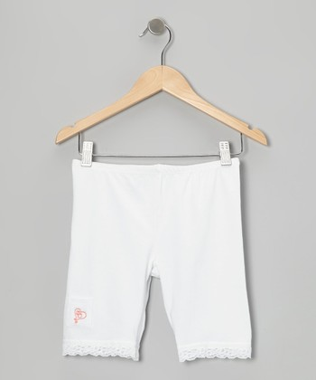 White Lace-Trim Shorts - Toddler & Girls