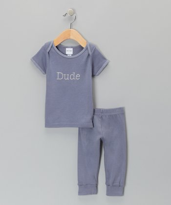 Dark Gray 'Dude' Tee & Pants