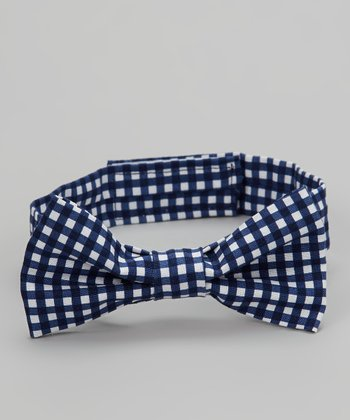 Navy & White Gingham Bow Tie