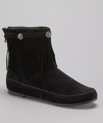 Black Fringe Moccasin Boot