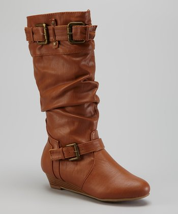 Chestnut Low Wedge Slouch Boot