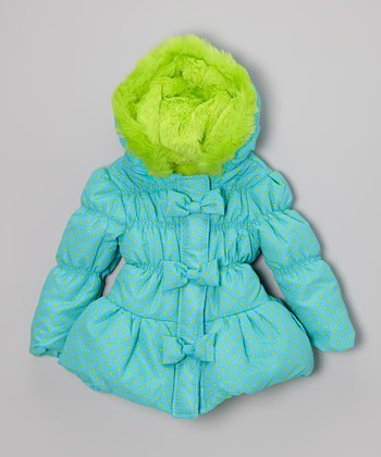 Medium Blue Polka Dot Faux Fur Hooded Coat - Girls