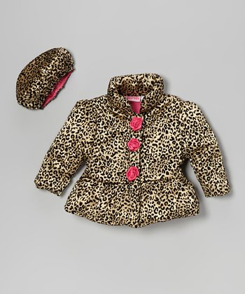 Gold Leopard Rosette Puffer Coat & Hat - Infant & Girls