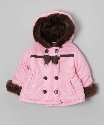 Pink Bow Faux Fur Hooded Coat - Toddler