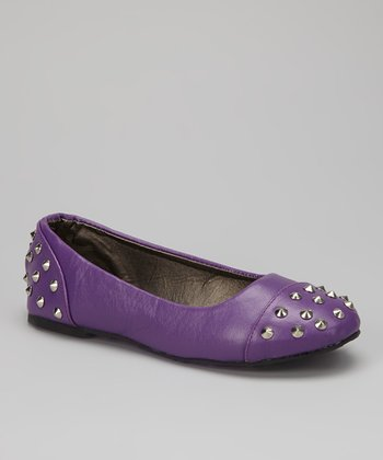 Purple Spike Studded Ballet Flat