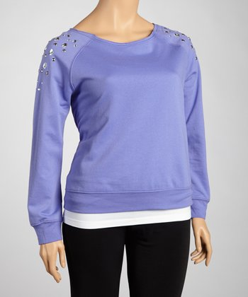 Violet Studded Sweatshirt - Plus