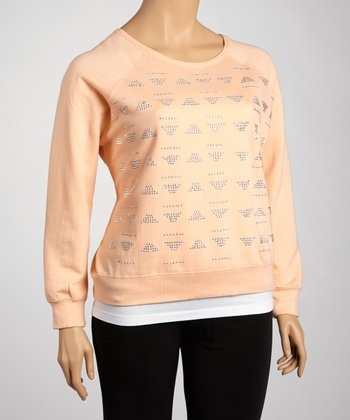 Light Peach Aztec Stud Sweatshirt - Plus