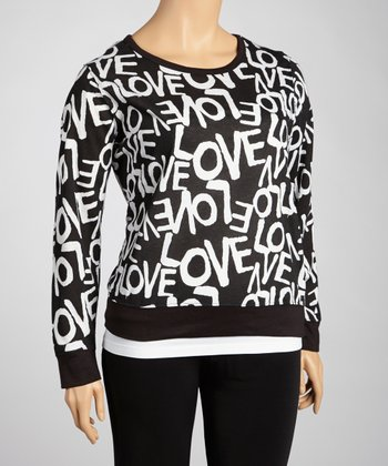 Black & White 'Love' Long-Sleeve Top - Plus