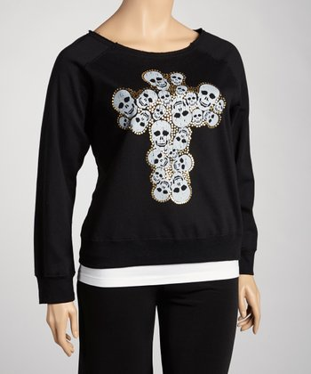 Black Skull Cross Top - Plus