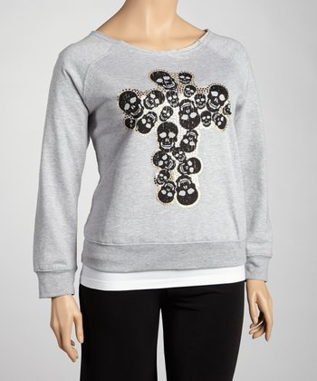 Gray Skull Cross Top - Plus