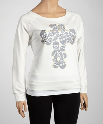 White Skull Cross Top - Plus