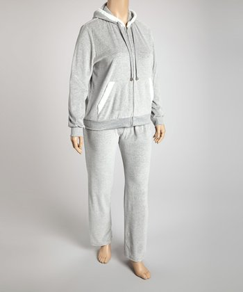 Heather Gray Hooded Velour Lounge Set - Plus