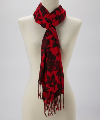 Red & Black World of Flowers Scarf
