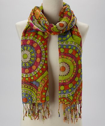 Orange & Lime Abstract Circles Scarf