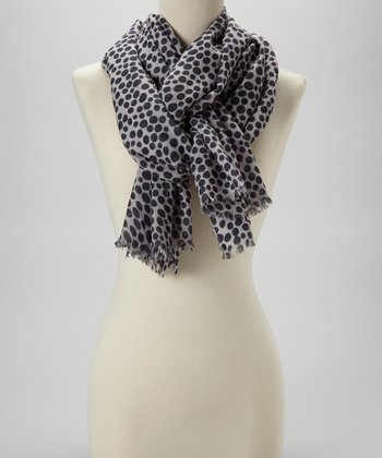 Ivory & Black Bubble Wool Scarf