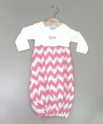 White & Pink Zigzag Personalized Gown - Infant