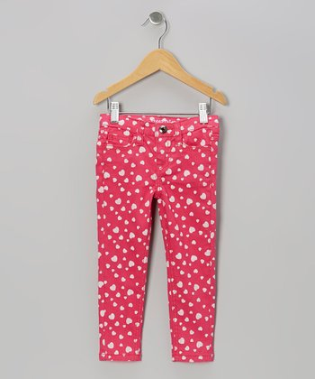 Vivid Pink Heart Jeans - Girls
