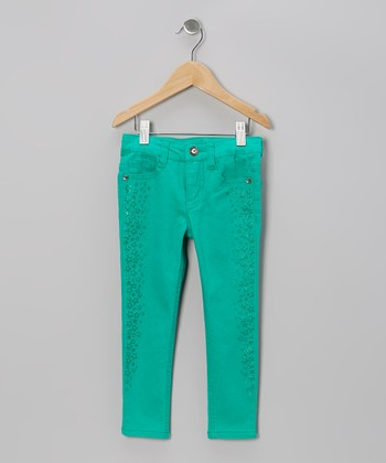 Dazzling Jade Star Stripe Jeans - Toddler