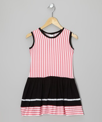 Pink & Black Stripe Dress - Infant, Toddler & Girls